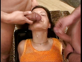 Bukkake-Girl Sandra gets rolling in money in every direction