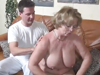 Granny getting it on the couch