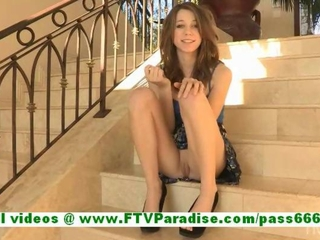 Allie amazing redhead babe fingering pussy on the stairs