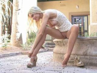 Babe Blonde Legs Outdoor