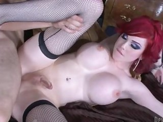 Busty redhead tranny loves getting..
