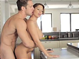 Hot housewife is dressed and ready to thrill as she sucks and fucks