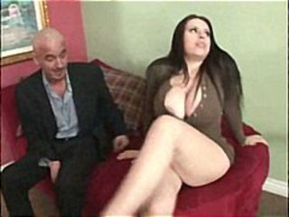 Brunette with really big tits eats an old cock and gets banged