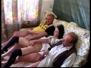 Daddy Daughter Family Handjob Old and Young Small cock Teen Threesome