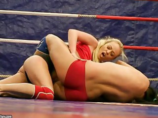 Naked wrestlers Colette and Bailee are..