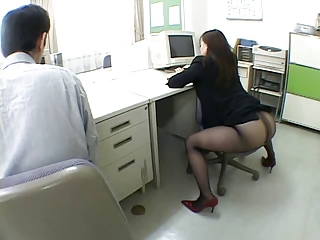 Japanese office girl drives me crazy by airliner
