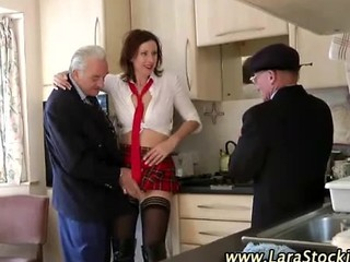 British European Kitchen  Old and Young Stockings Threesome Uniform