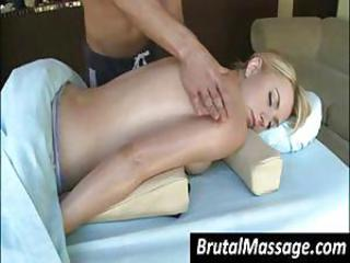 Cute peaches gets a careful oiled up massage by tender masseuse legs