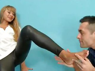 Girl in wet look leggings hardcore foot fetish be thrilled by