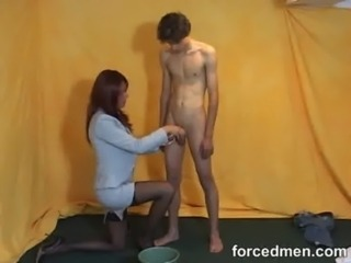 Mistress aims relative to shoot cum in a catch bucket free