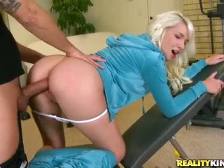 Teen blonde Stevie Shae has a good time with her personal trainer. She doesn't. play volleyball with him. She just enjoys his meaty cock in her barely legal pussy and takes it in her mouth.