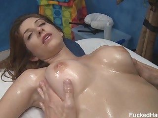 Tits and ass massage for shaved chick Karina