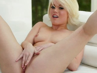 White haired girl Ash Hollywood satisfying herself