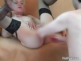 Beauteous slut in stocking spreads legs part6