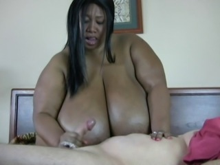 Big Tits Ebony Handjob Interracial