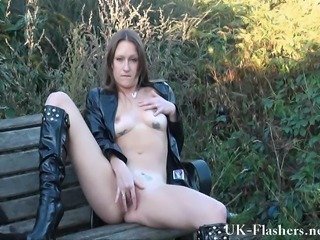 Amateur British European Masturbating  Outdoor Public