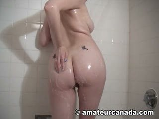 Amateur wet shower blonde soaping up big tits clean in washroom