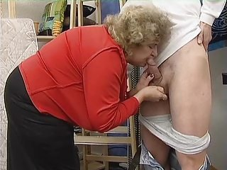 Chubby Granny in Stockings Fucks the Boy