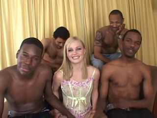 Black Gangbang on cute blonde