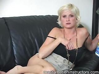 Blonde jerk off teacher sexily rubs her body and sips on her straw