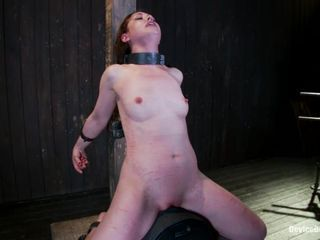 Dominated Sarah Shevon bounces her pussy on a sybian