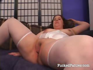Sexy fat girl enjoys fucking two cocks