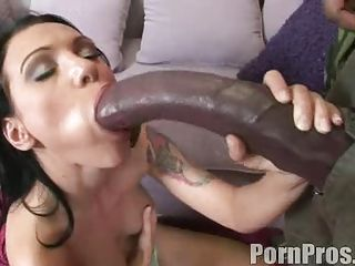 Gorgeous babe Victoria Sin fills her mouth with a giant man meat sausage