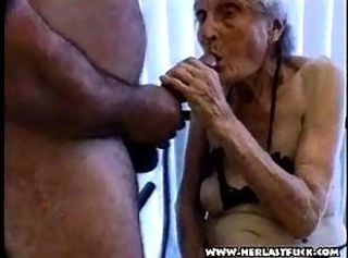 Nasty granny slut sucking cock