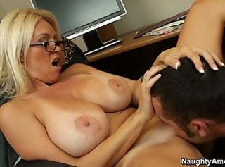 Amazing Big Tits Blonde Glasses Licking  Pornstar Teacher