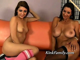 Mom and teen hot double blowj...