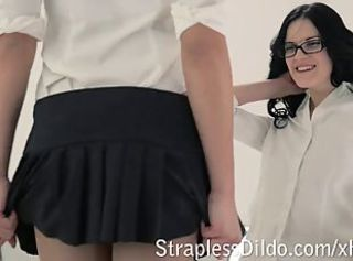 College girls dress up pantyhose and get strapon _: lesbians strapon teens