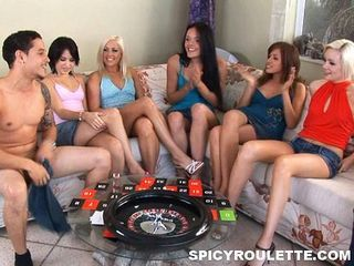 Hot teens pampering lucky guy...