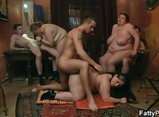 Anal sex in a BBW orgy video