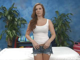 Brown Haired Sweet Girl Maddy Is Sexy In Her Tight Blue Jean Shorts. S...