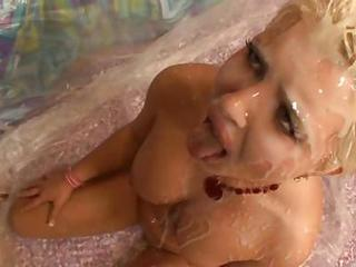 Hot Blonde Slut Andi Anderson Gets Her Pretty Face Covered In Jizz