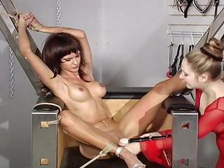 Chick Tied Up And Bound To Fucking Machine