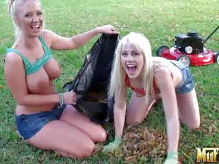 Molly Cavalli And Jayden Pierson Are Two Playful Busty Lesbians In Sexy Tight Jean Shorts. They Have Fun Outdoors In The Grass. Blonde Feels Free Showing Their Big Boobs Before Having Lesbian Fun.