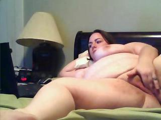 Fat Milf With Big Tits Laying On The Bed Fretting Her Fat Pussy