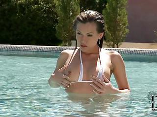 Sweet European Brunette Girl Subil Arch In White Mini Bikini Bares Her Tiny Tits After Swimming In The Pool. This Russian Hottie Is So Sexy! She Touches Herself Without Leaving The Pool.