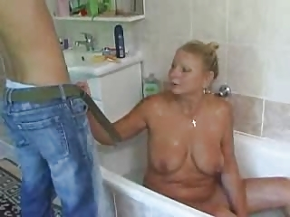 Bathroom European German Mature Mom Old and Young