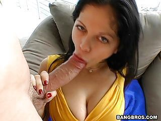 Busty babe Evie Delatosso swallowing a massive long hard cock