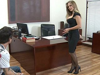 Babe Blonde  Office Secretary Stockings