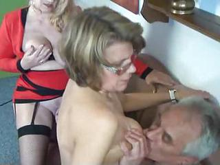 Glasses Granny Stockings Threesome