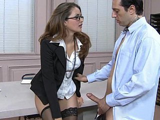 Babe Glasses Office Secretary Stockings