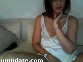 Shy MILF masturbates for hubby on webcam