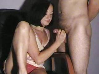 Slow Handjob From His Clothed Wife