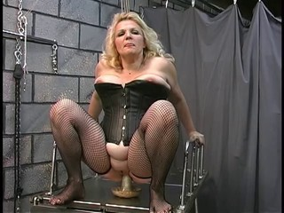 Blonde Corset Dildo  Stockings