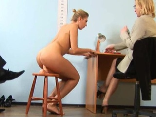 Young secretary goes though nude job interview to have...