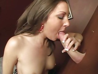 Brunette Kiera King drains dick...