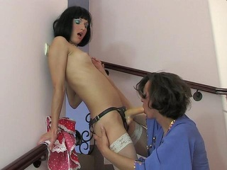 Sensuous sissy jumping onto...